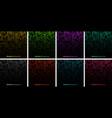 colorful gradient glow pixel dots background set vector image