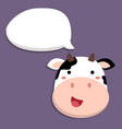 cute cow talking with speech bubble vector image