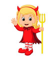 cute devil girl cartoon vector image vector image