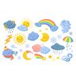 cute weather isolated rainbow cartoon rain vector image
