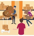 delivery team and manager working with box in vector image