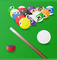 eight-ball pool balls position cue and a piece vector image