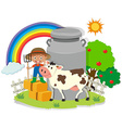 Farmer working in the farm with cow vector image vector image
