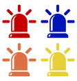 flasher icons alarm siren red blue orange and vector image