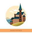 fort or fortress strong medieval fortification vector image vector image