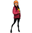 funny woman trying on a warm red jacket vector image