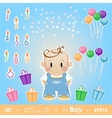 Gala set for boy Set for birthday candles gifts vector image vector image