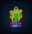 glowing neon fiesta holiday sign mexican festival vector image