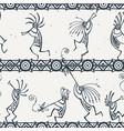 hand drawn kokopelli seamless pattern stylized vector image vector image