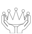 hands holding award crown honor vector image