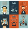 Hipster flat icons composition poster vector image vector image