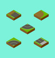 isometric road set of pedestrian road incomplete vector image vector image