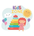 kids zone rubber pyramid and pink little doll vector image