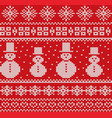 knitted christmas background with snowmen and vector image vector image