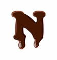Letter N from latin alphabet made of chocolate vector image