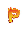 letter p fire flames font lettering tattoo vector image vector image