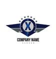 letter x shield logo vector image vector image