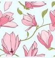 magnolia sakura blooming flowers seamless pattern vector image vector image