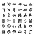 military related vehicle and weapons solid icon vector image