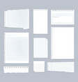 note papers lined notes set stripe sheets vector image