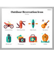 outdoor recreation icons flat pack vector image