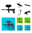 paintball marker kayak with a paddle snowboard vector image