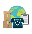 Planet phone package and check list icon Delivery vector image vector image