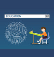 reading man on chair with education search engine vector image