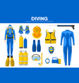 scuba diving sport equipment snorkeling diver vector image vector image