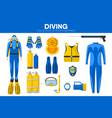 scuba diving sport equipment snorkeling diver vector image