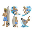 set cartoon surfer white boy vector image