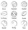 set sports equipments vector image