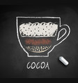 sketch cocoa on chalkboard background vector image