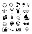Summer Icons with White Background - silhouette vector image vector image