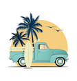 surfing retro pick up truck with surf boards on vector image