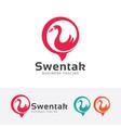 swan talk logo vector image vector image