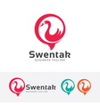 swan talk logo vector image