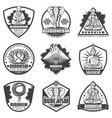 Vintage monochrome buddhism labels set vector image
