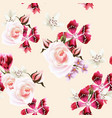 wallpaper pattern with roses and pink flowers vector image vector image