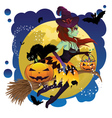Witch and Full Moon2 vector image vector image