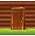 Old Door on Wooden Log Wall Log House Facade vector image