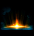 abstract rays light and big blue planet vector image vector image