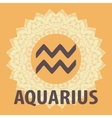 Aquarius Water Bearer Zodiac icon with mandala vector image vector image