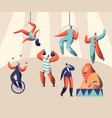 arena circus show with clown acrobat and animal vector image