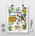 Beautiful hand-draw poster i love cooking vector image vector image