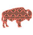bison aztec style tribal design ethnic ornaments vector image