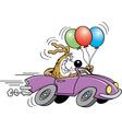 Cartoon dog in an automobile vector image vector image