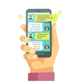 Chatting with chatbot on phone online vector image vector image