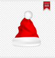 christmas santa claus hats with shadow set new vector image