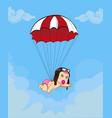 cute cartoon baby girl in pilot hat going down vector image vector image